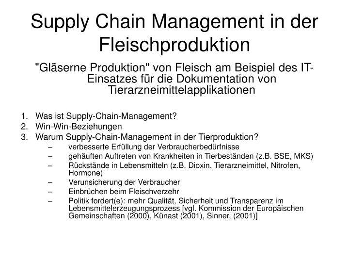 Supply Chain Management in der Fleischproduktion