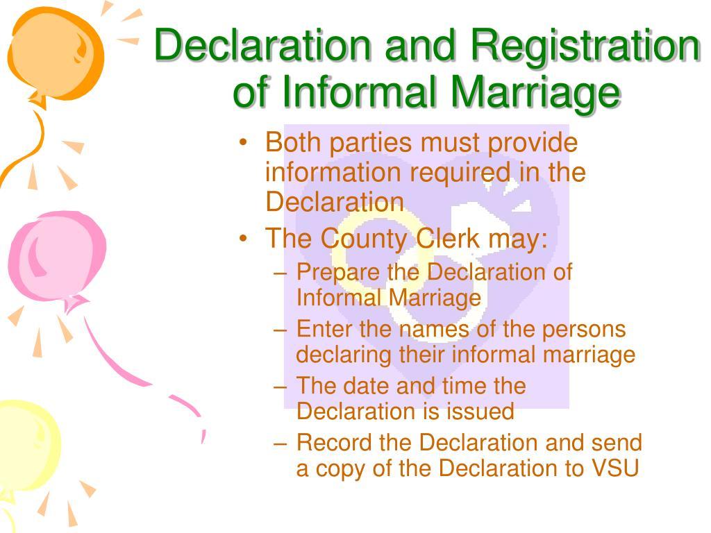 Declaration and Registration