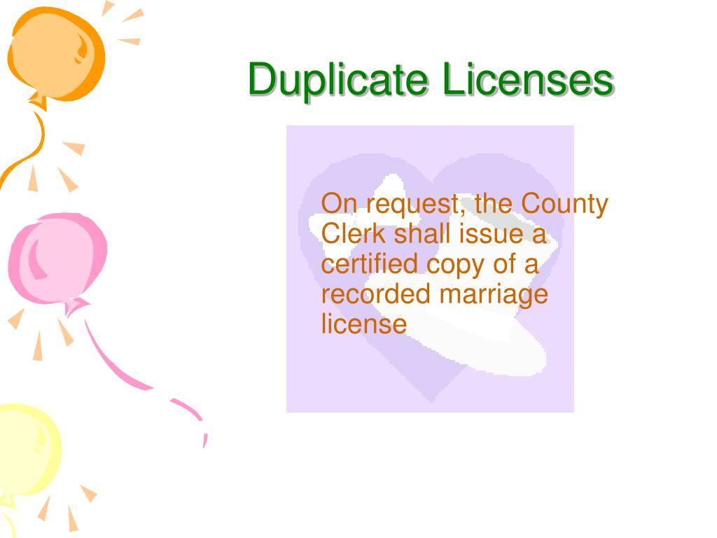Duplicate Licenses
