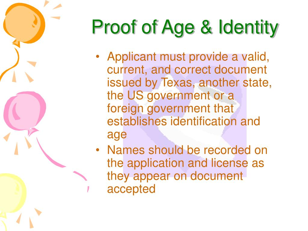 Proof of Age & Identity