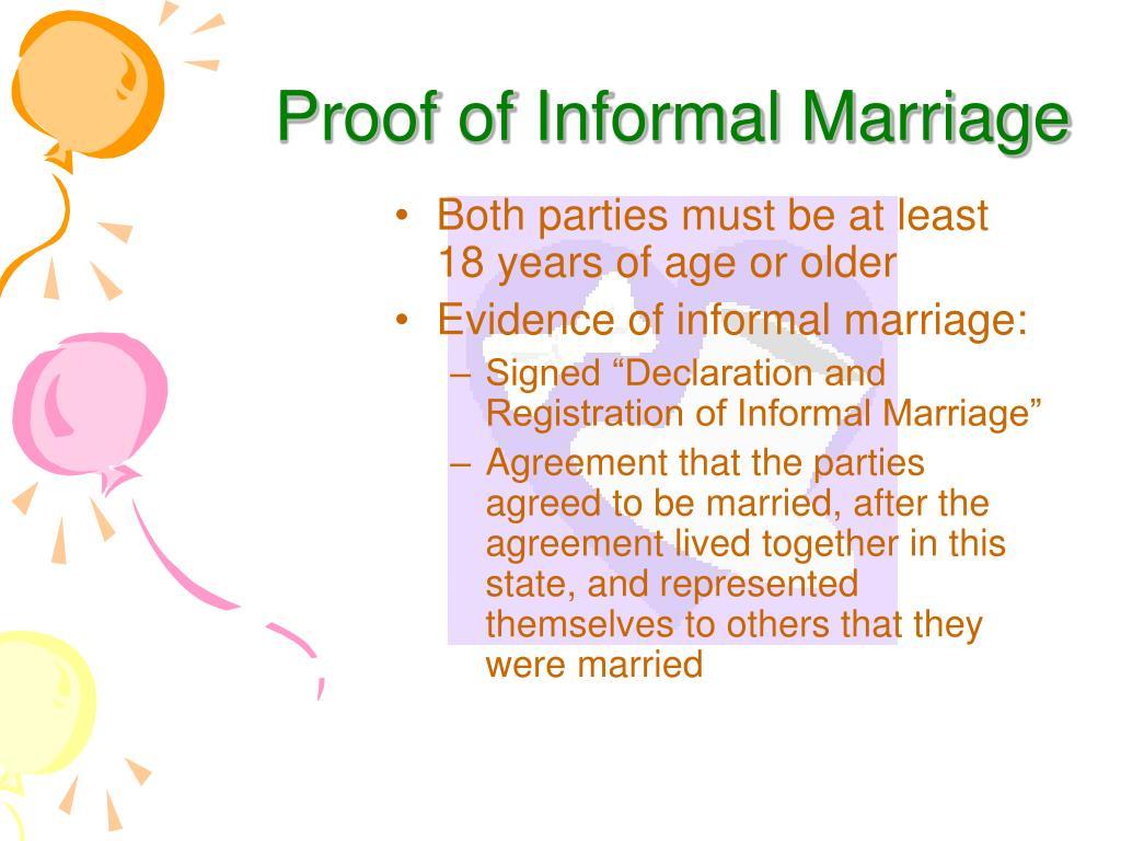 Proof of Informal Marriage