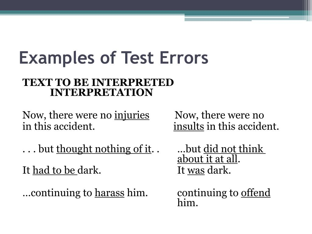 Examples of Test Errors