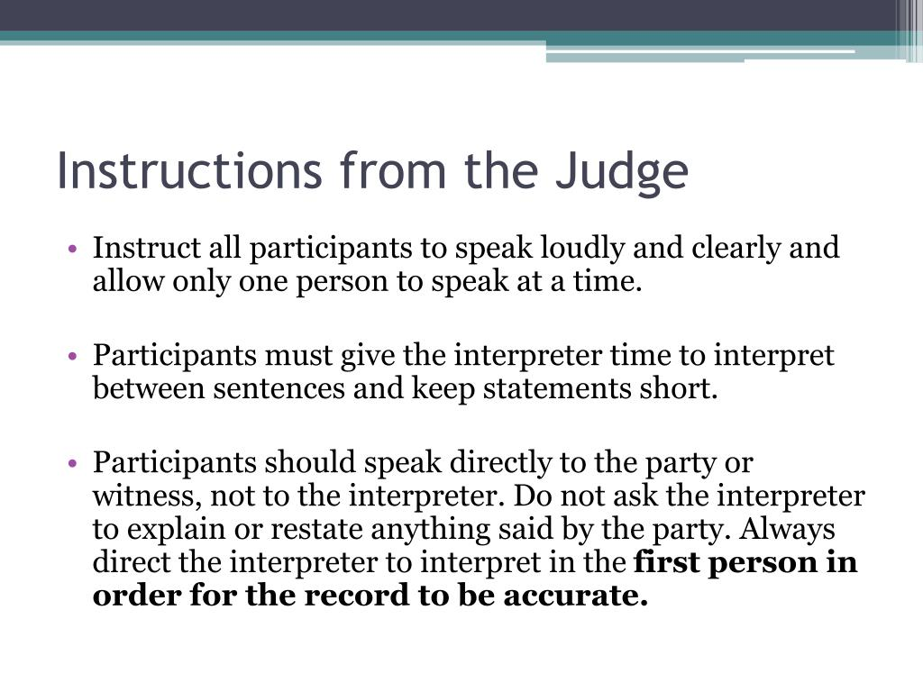 Instructions from the Judge