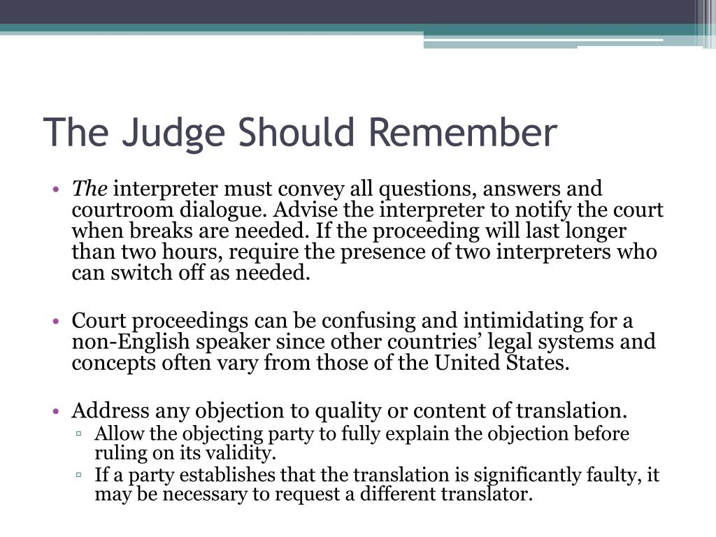 The Judge Should Remember