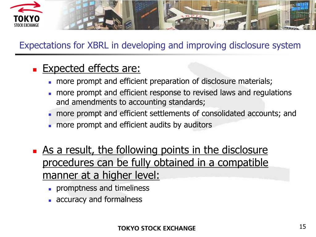 Expectations for XBRL in developing and improving disclosure system