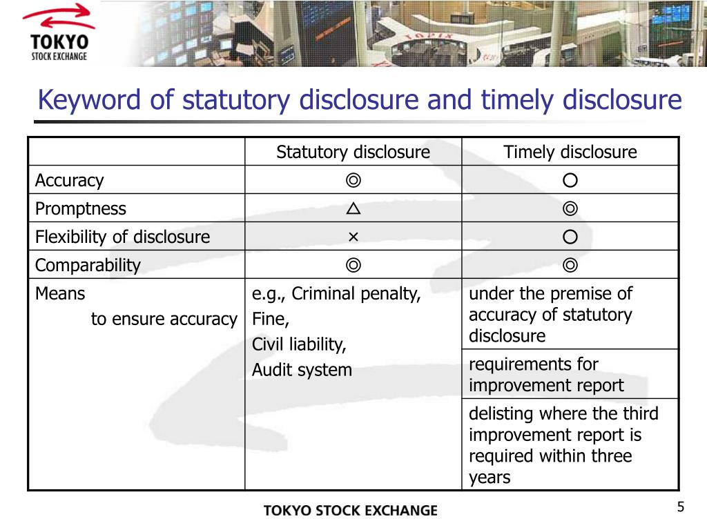 Keyword of statutory disclosure and timely disclosure