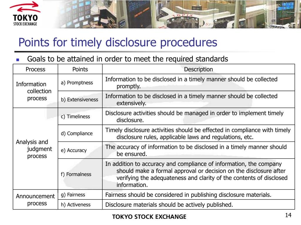 Points for timely disclosure procedures
