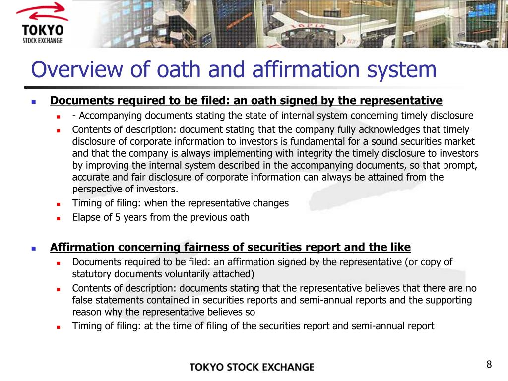 Overview of oath and affirmation system