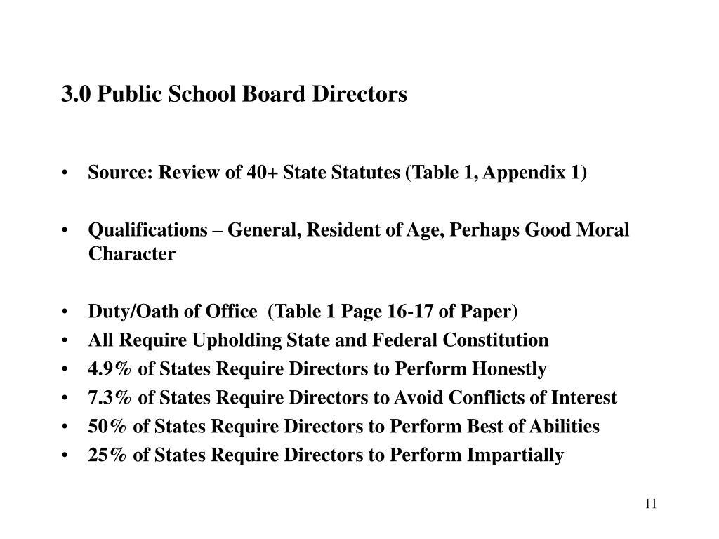 3.0 Public School Board Directors