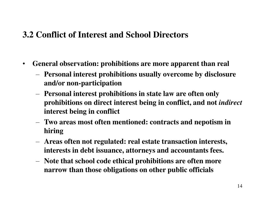 3.2 Conflict of Interest and School Directors