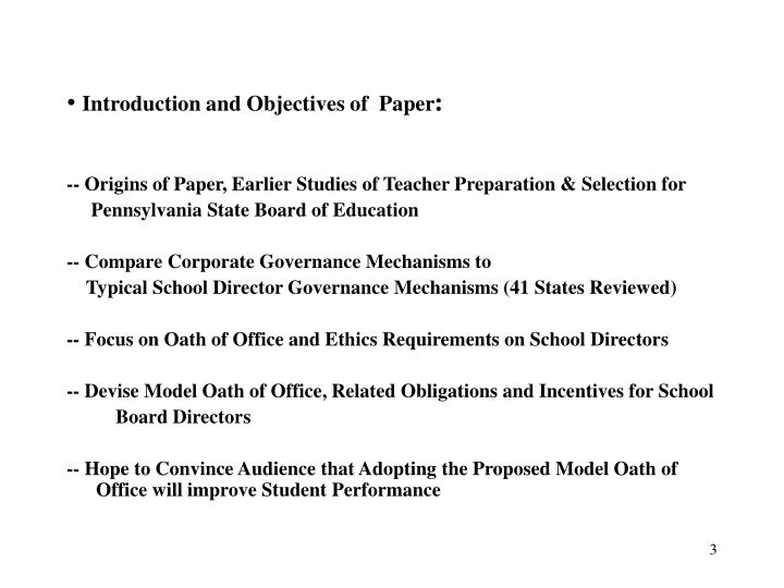 Introduction and objectives of paper