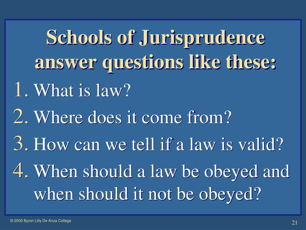 Schools of Jurisprudence answer questions like these: