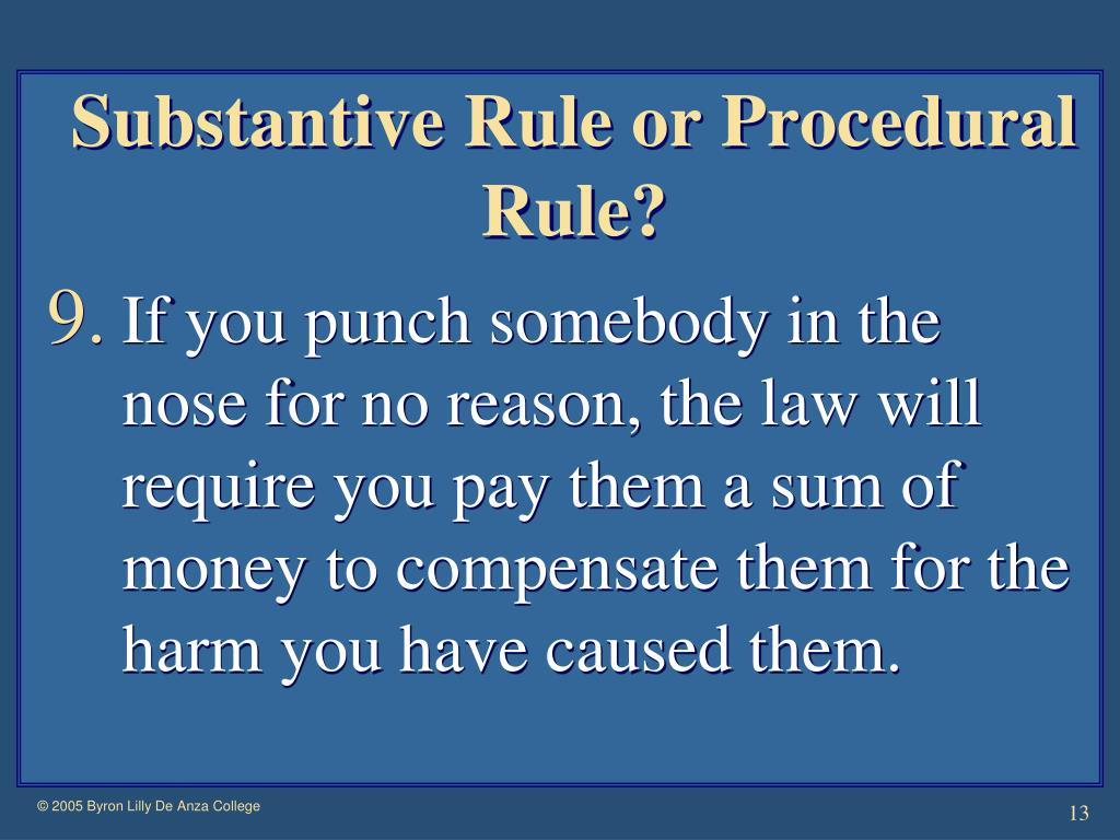 Substantive Rule or Procedural Rule?