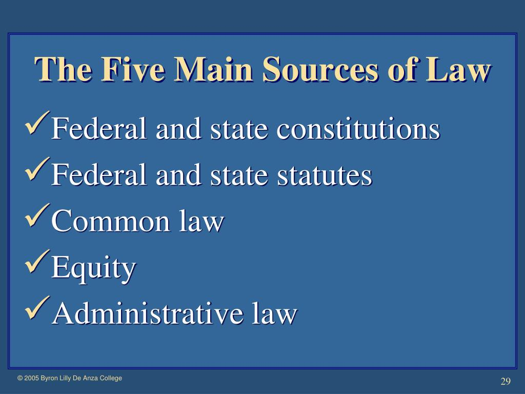 The Five Main Sources of Law