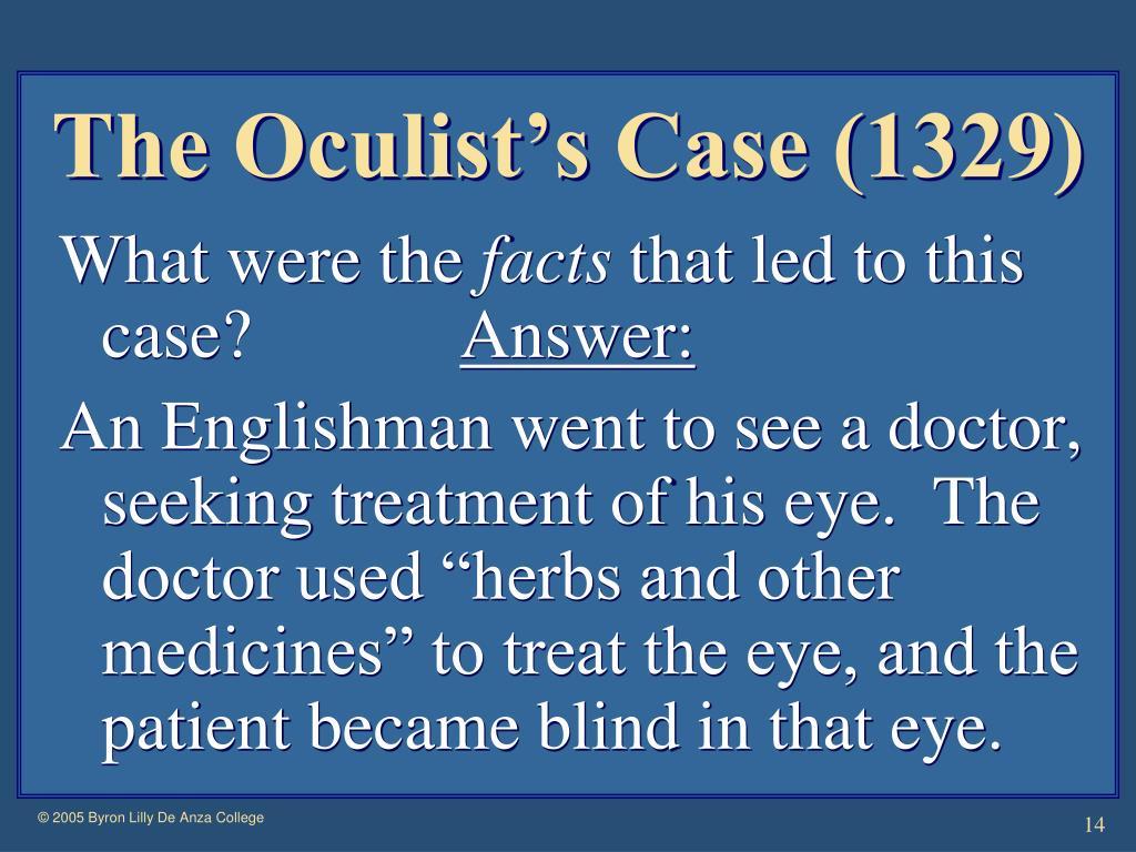 The Oculist's Case (1329)