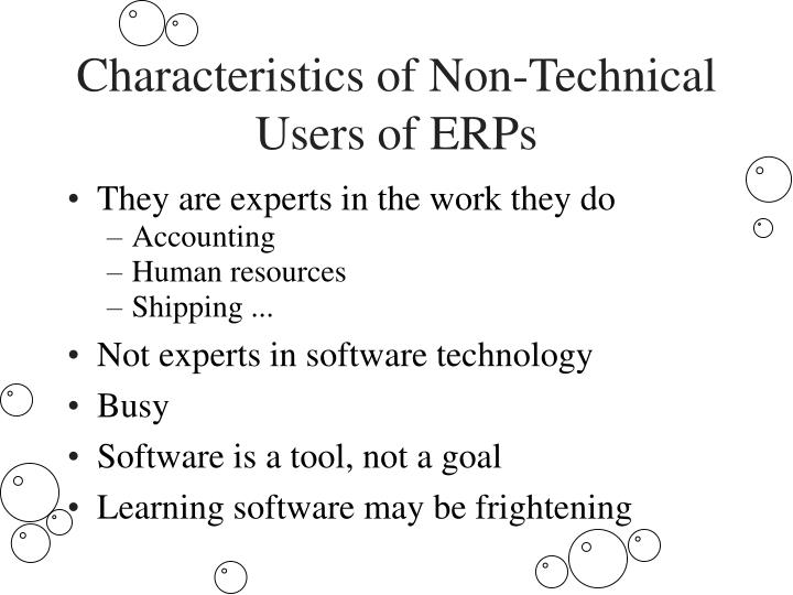 Characteristics of Non-Technical Users of ERPs
