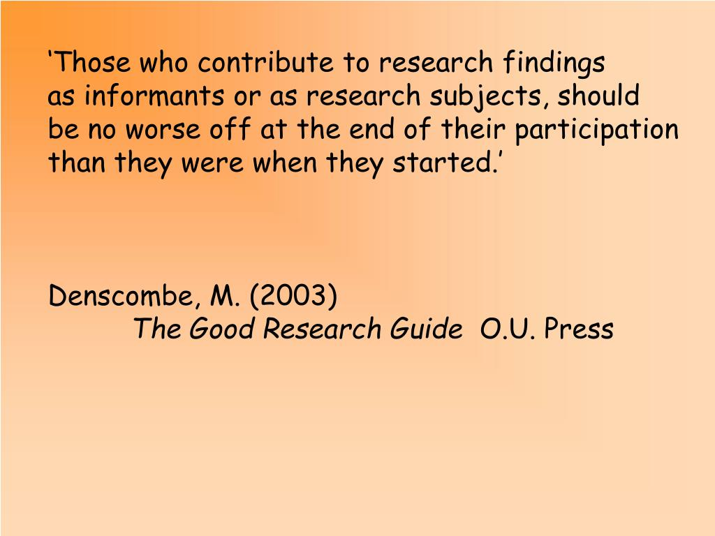 'Those who contribute to research findings