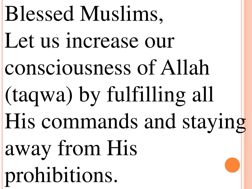 Blessed Muslims,