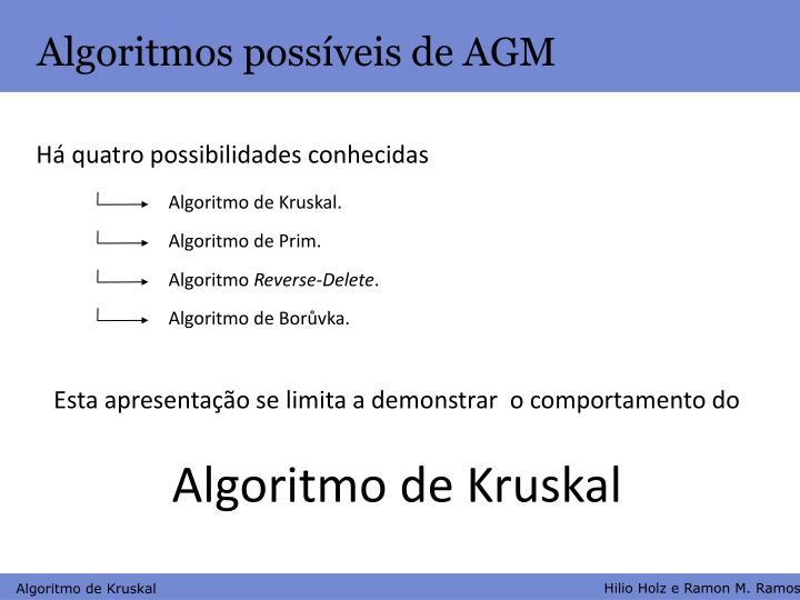 Algoritmos possíveis de AGM