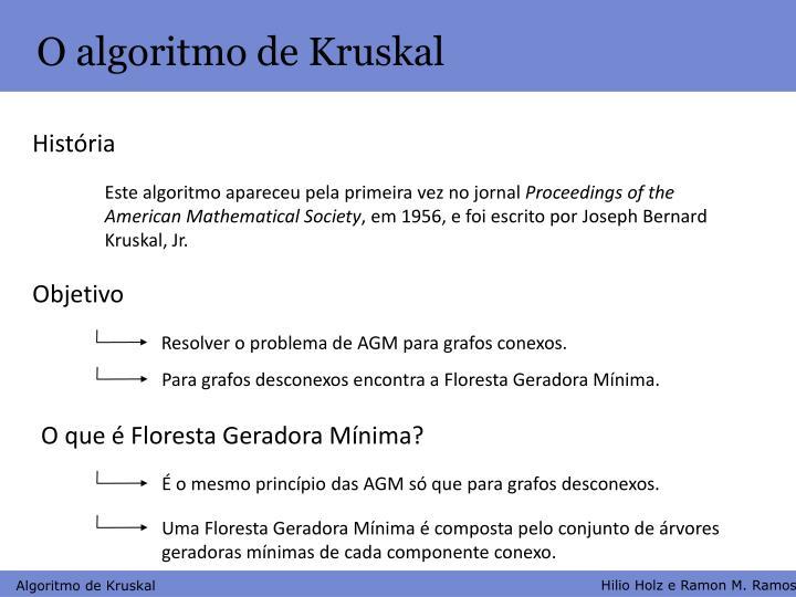 O algoritmo de Kruskal