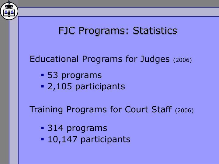 FJC Programs: Statistics