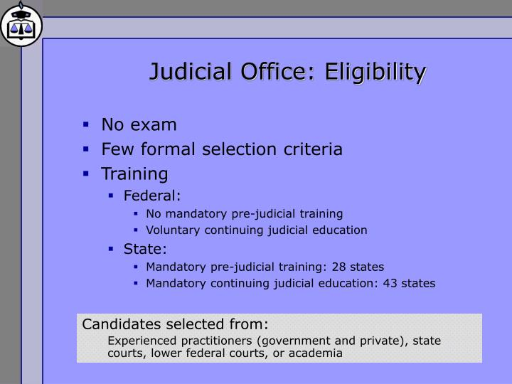 Judicial Office: Eligibility