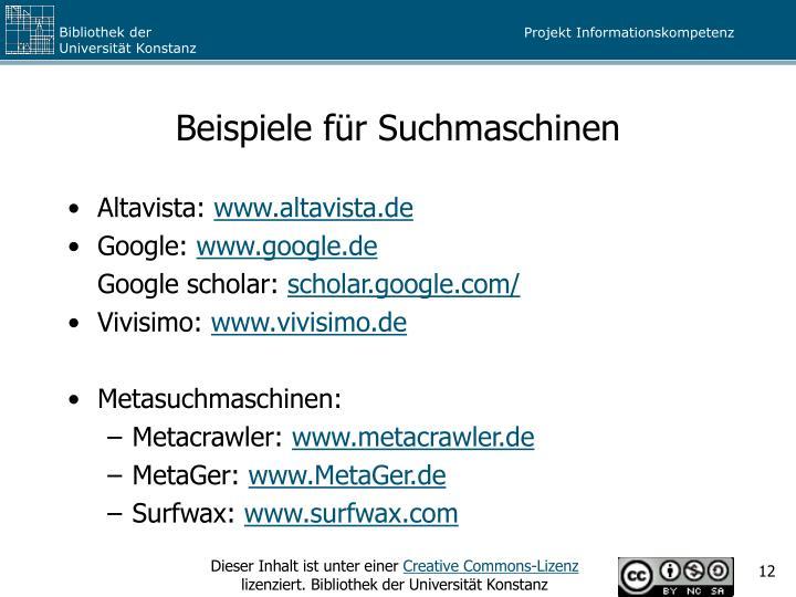 Beispiele für Suchmaschinen