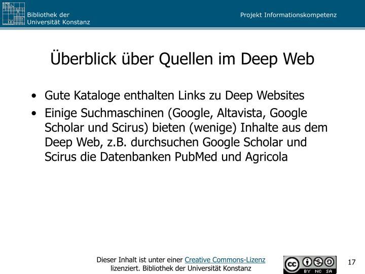 Überblick über Quellen im Deep Web