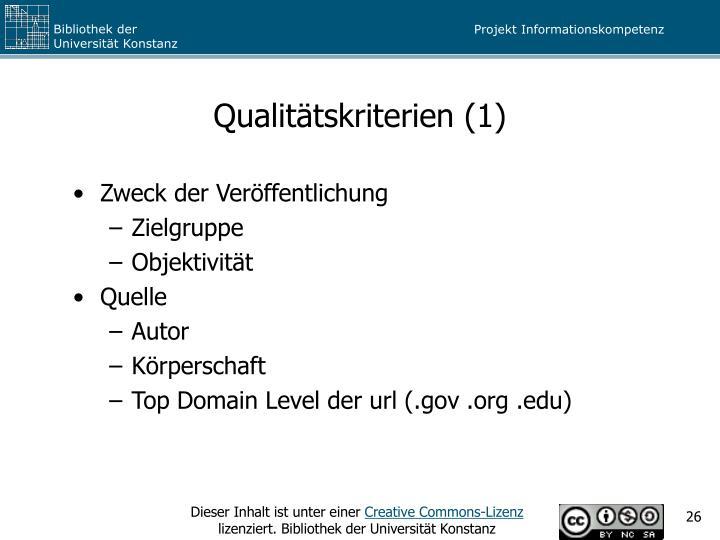 Qualitätskriterien (1)