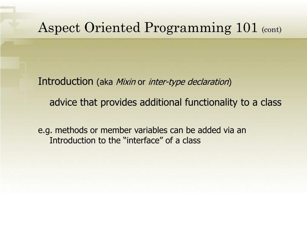 Aspect Oriented Programming 101