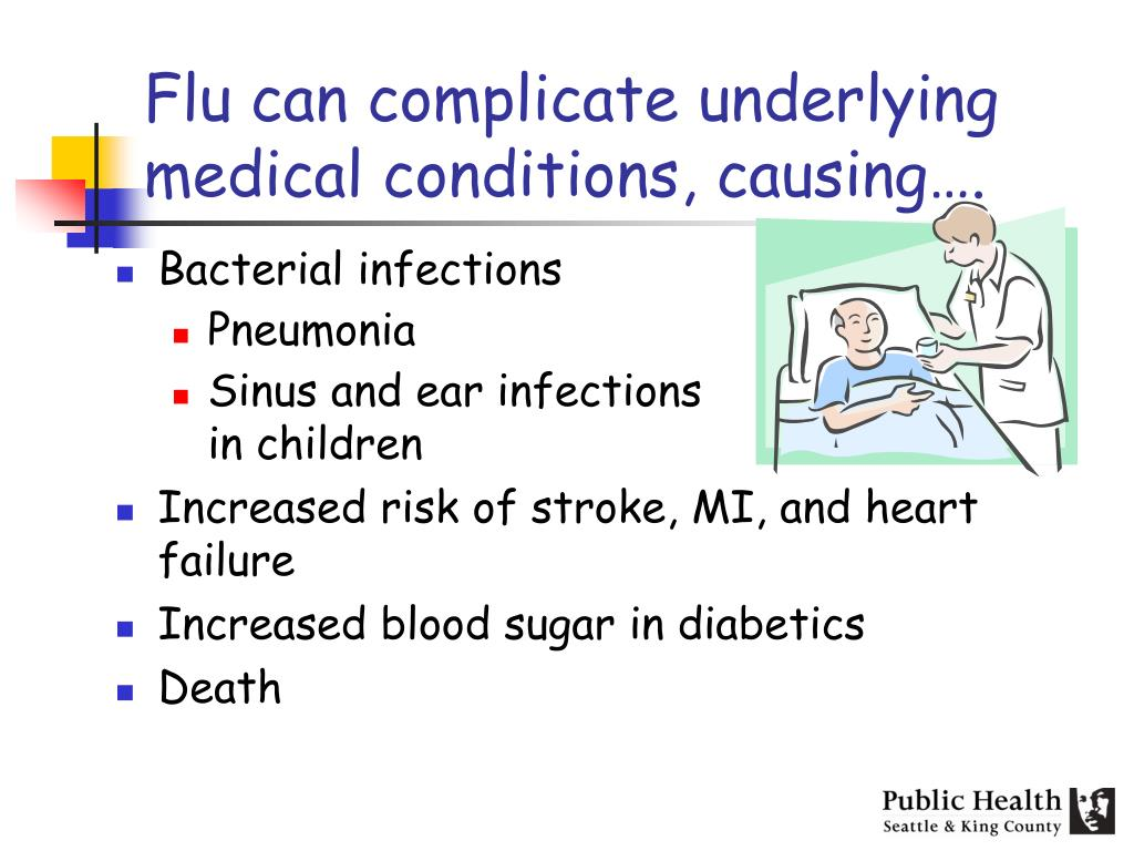 Flu can complicate underlying medical conditions, causing….