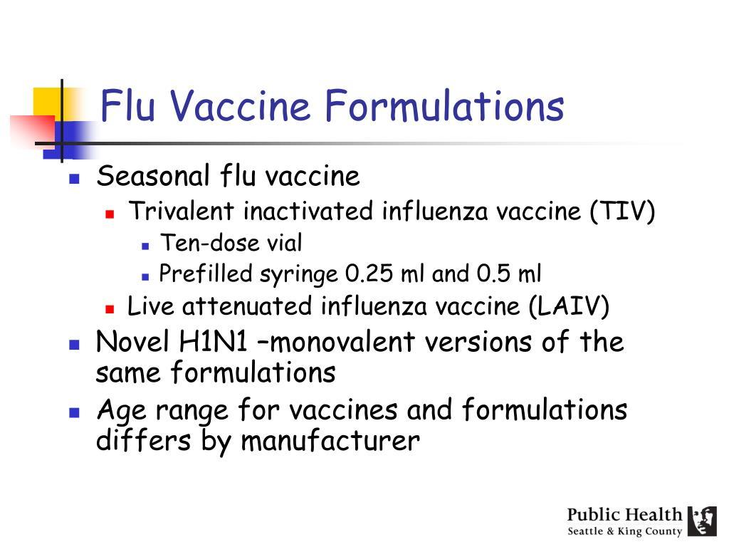 Flu Vaccine Formulations
