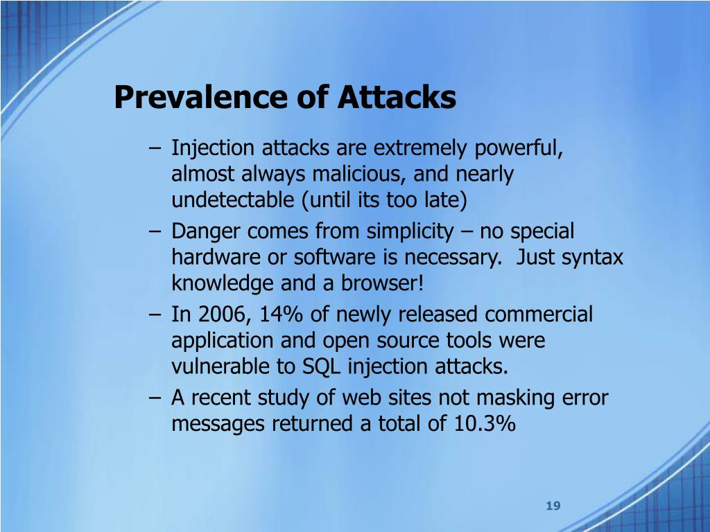 Prevalence of Attacks