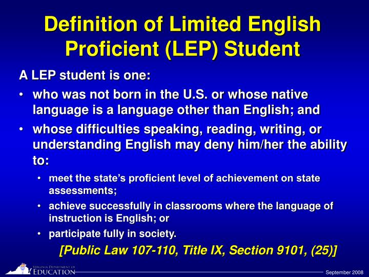 Definition of limited english proficient lep student