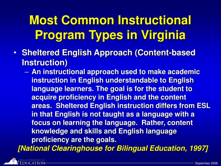 Most Common Instructional Program Types in Virginia