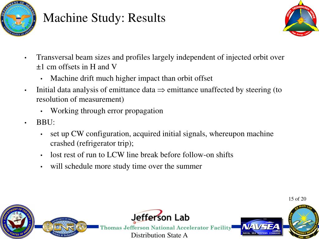 Machine Study: Results