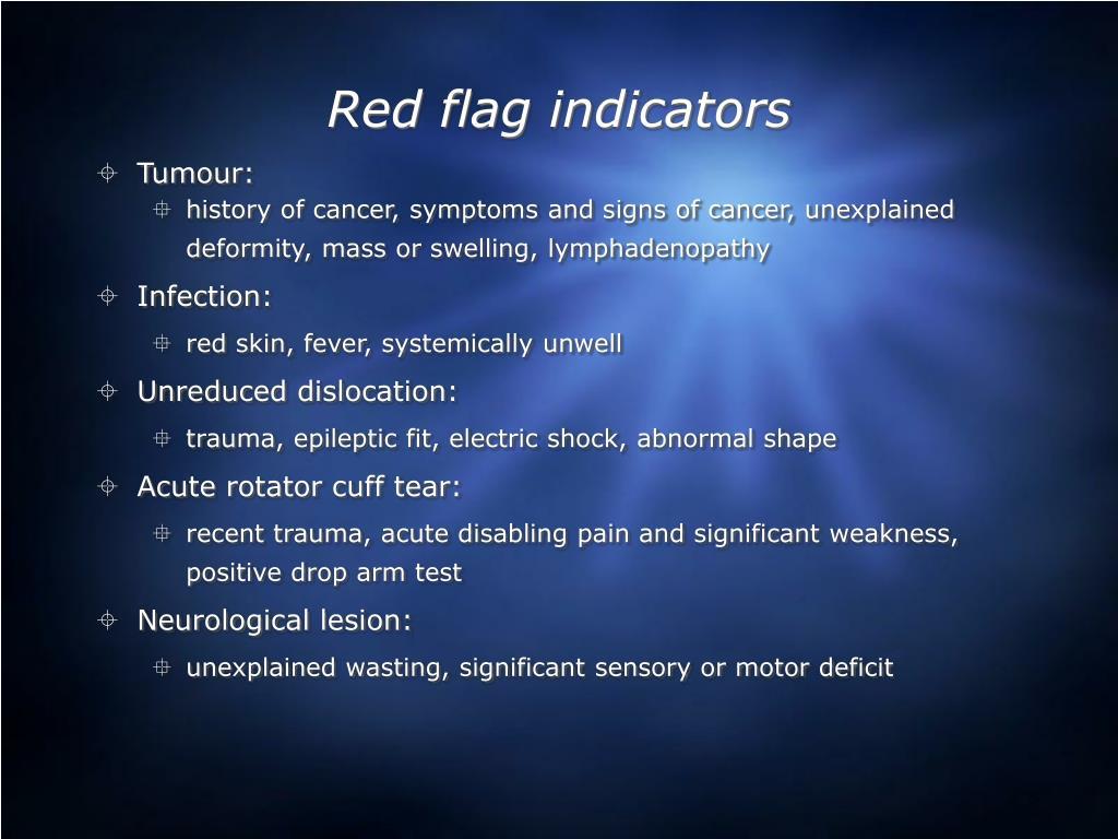 Red flag indicators