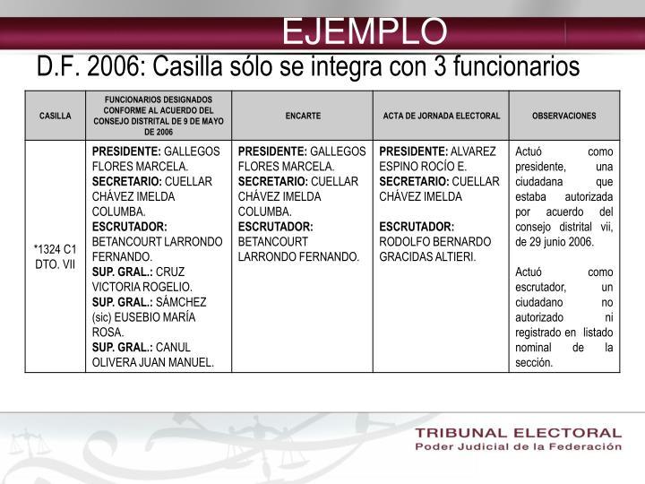 D.F. 2006: Casilla sólo se integra con 3 funcionarios