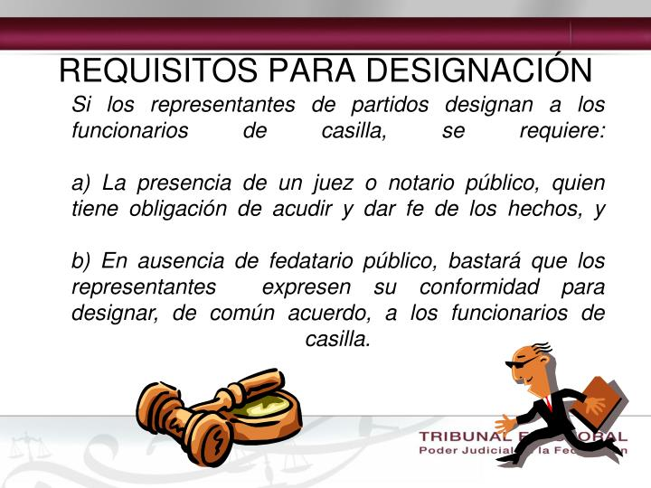 REQUISITOS PARA DESIGNACIÓN