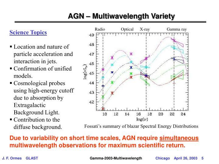 AGN – Multiwavelength Variety