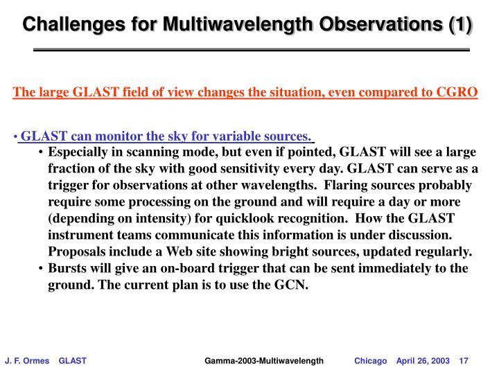 Challenges for Multiwavelength Observations (1)