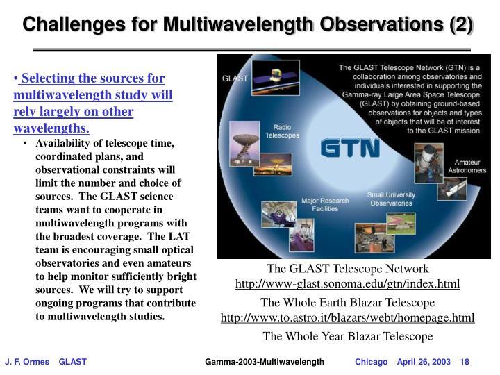 Challenges for Multiwavelength Observations (2)