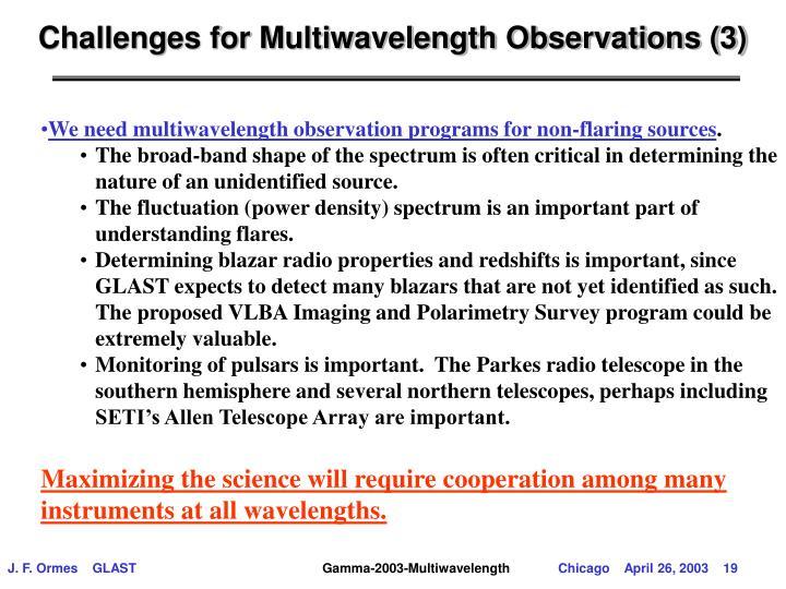 Challenges for Multiwavelength Observations (3)