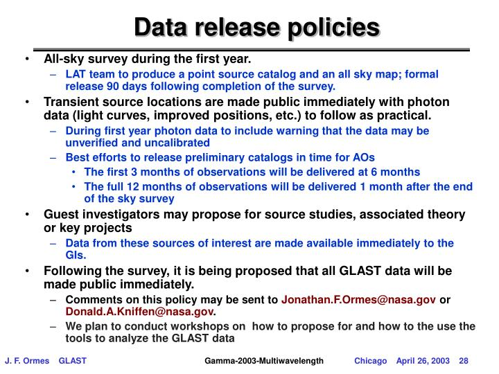 Data release policies