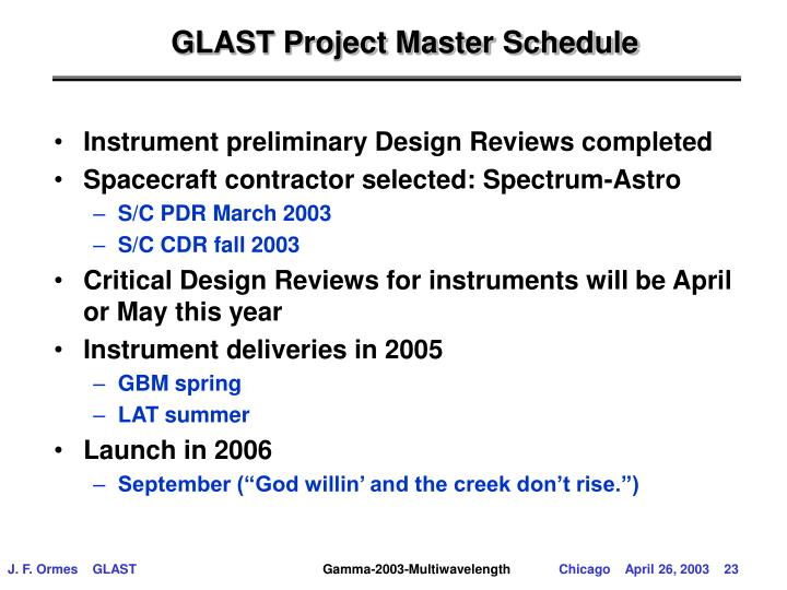 GLAST Project Master Schedule