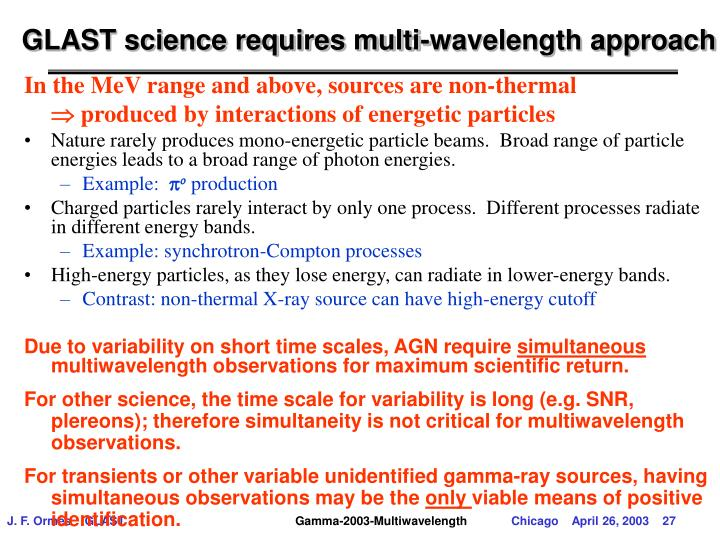 GLAST science requires multi-wavelength approach