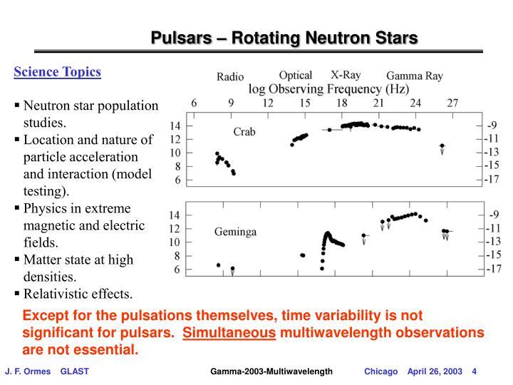 Pulsars – Rotating Neutron Stars