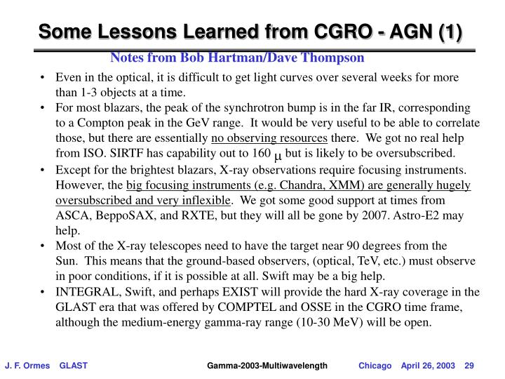 Some Lessons Learned from CGRO - AGN (1)