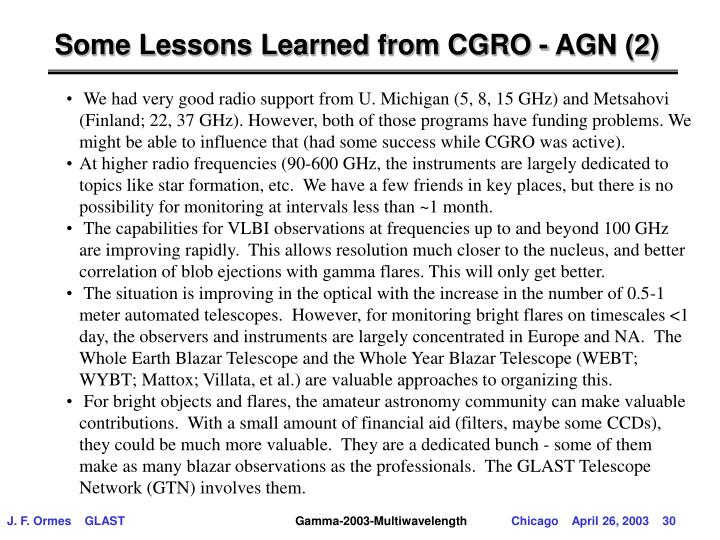 Some Lessons Learned from CGRO - AGN (2)