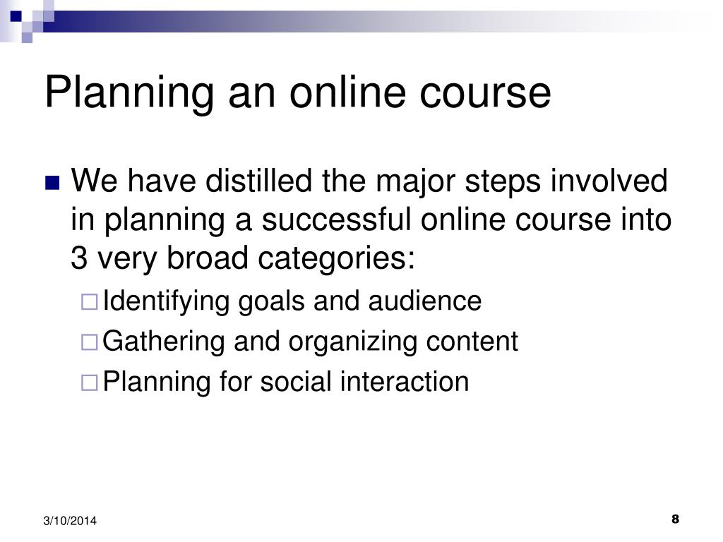 Planning an online course